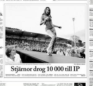 Ur ST 2/8 2002. Rhapsody in Rock drog 10 000 besökare till nya Idrottsparken.