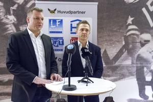 VIK Hockeys dåvarande ordförande Mattias Jonson tillsammans med Mats Brokvist när denne presenteras som ny klubbchef den 23 januari 2017. Två och en halv månad senare åker VIK ur hockeyallsvenskan.