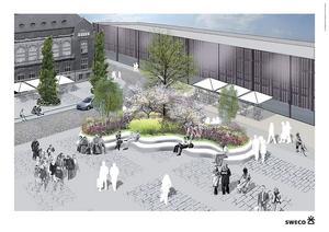 Sittplatser i grönskan. Så skulle en del av Stora torget kunna se ut enligt ett tidigare arkitektförslag.
