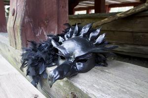 Vildvittrornas masker har Cecilia gjort för hand.