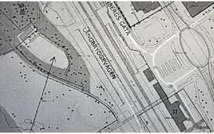 Här ska skateparken ligga - om den byggs. Platsen är söder om campingen.