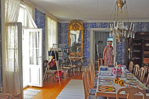 Det fanns många rum med gamla vackra saker att titta på. I varje rum fanns också flera utställningsföremål från Jämtkvilten.