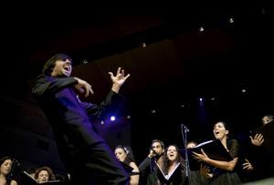 Överraskade. Riktigt långväga: Kören Coco Accademia Feniarco med sin dirigent Alessandro Cadario från Italien. De framförde lekfull och överraskande körsång. Flera lokala körer deltog också, och tillsammans bildade de en storkör med 250 sångare.