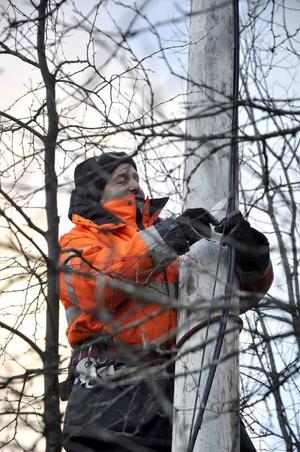 Pär Hansson var en av dem som under söndagen fick ge sig ut i skogen för att laga nedfallna ledningar.