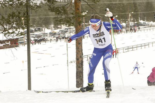 Saga Fältenhag, en av många duktiga åkare från Högbo, vann D14.