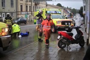 Olyckan inträffade vid rödljusen på Kungsgatan i Hudiksvall.