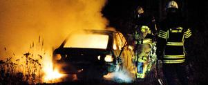 Bilen totalförstördes i branden.