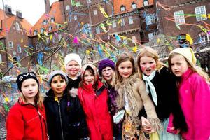 Frida Holm, Fatma Badal, Marianne Hessel-Åslund, Mimmi Fredriksson, Ida Ragnvaldsson, Ida Andersson, Elin Andersson och Stella Johansson var några av påskkärringarna från Norra skolan som hjälpte till att smycka påskbjörken.