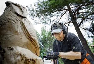 Fyra timmar tar det för Alf Skaneby att förvandla en stock till en uggla med motorsågens hjälp.