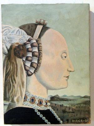106. Battista Sforza. Olja på trä.