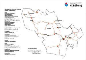 På den här kartan finns de hjärtstartare som Härjedalen HjärtLung varit med att placera ut. Det finns fler och ett tips är att besöka webbplatsen www.hjartstartarregistret.se för att kontrollera var de övriga finns