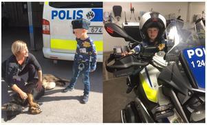 Här ser vi Elton när han träffar hunden Ilya och när han provar polismotorcykeln. Foto: Polisen Västmanland