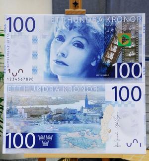 Greta Garbo på 100-kronorssedeln.