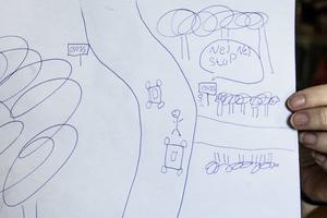7-åriga Daniques teckning av olyckan, som hon minns den.