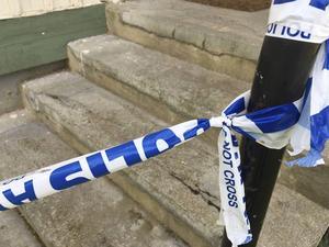 Den misstänkta brottsplatsen var avspärrad under söndagen.