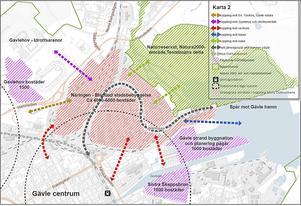 Gävle kommuns karta över planerna för Näringen.