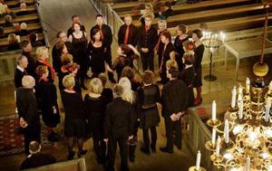 Här framför Cantilenakören Det är en ros utsprungen ståendes i mittkoret i Sunne kyrka.   Foto: Ulrika Andersson