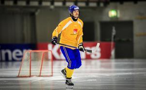 David Pizzoni Elfving på fredagens träning i Göransson Arena.