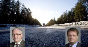 Centerpartisten Anders W Jonsson (vänster) bor själv i Hedesunda och har bett att få träffa Trafikverket. Moderaten Lars Beckman säger att han kan arbeta internt mot partiets ledamöter i trafikutskottet.