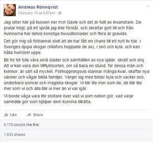 Andreas Rönnqvist skrev om hur han känner sig stolt över att Sverige har hjälpt människor på flykt. Facebook-inlägget har blivit en viral succé.