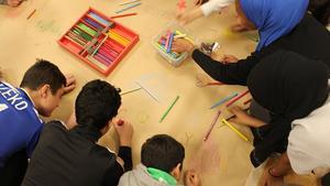En av aktiviteterna var att eleverna fick rita sina tankar om det framtida samhället.