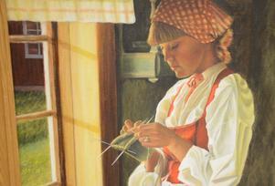 Avbildad. Kvinnan finns på riktigt och fick stå modell för ett fotografi som Åke sedan har förevigat i olja.
