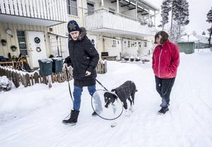 Lotta Petersen och Karin Malmström bor i Torvalla och har båda hundar som smittats med rävskabb.