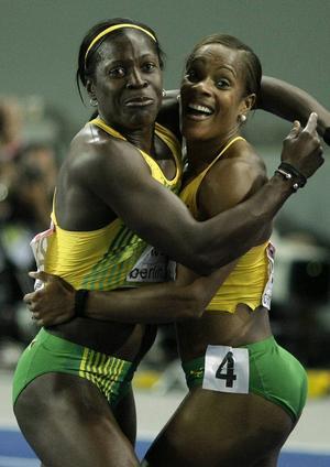 Förebilderna: Delloreen Ennis-London, till vänster, och Brigitte Foster-Hylton, den jamaicanska duon som båda var 34 år när de vann brons respektive guld i VM i Berlin 2009.