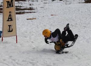 Anton Rösnäs visade sig behärska alla grenar även om han här föll över mållinjen under snowracerslalomen.