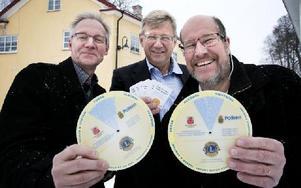 Jan-Erik Falkengren, Lions, Mats Larson, Norrbärke sparbank och Håkan Söderlund, Smedjebackens kommun, jobbar tillsammans för Smedjebackens ungdomar. Foto: Peter Ohlsson