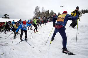 Starten av Vasaloppet 2017 i Berga by.