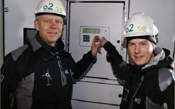 Byggchef Jan Olof Dahlin och projektledare Johan Höök startar Moras första vindkraftpark vid Säliträdberget.