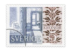 Kollage med väggdekorationer i schablonmåleri från Gästgivars i Vallsta mellan Arbrå och Järvsö, samt en sal från Bommars. Bild: PostNord