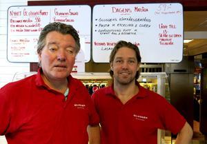 David Lundgren och Johan Björklund vid filialen på Norrtull.