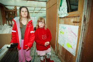 8-åriga Olivia Persdotter och 5-åriga Frida Persdotter på väg in till de tio små kycklingarna  i hönshuset.