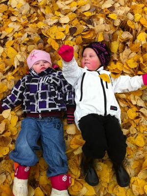Kusinerna Emilia och Erik Jonasson busar bland löven