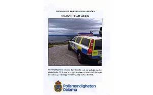 Polismyndighetens informationsbroschyr inför Classic Car Week.