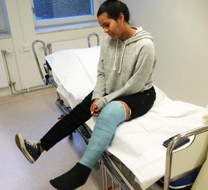 Här är Maria Rodriquez på sjukhuset efter den tunga semestern i Thailand.
