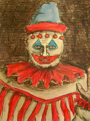 Illustartion föreställande Clownen Pogo,