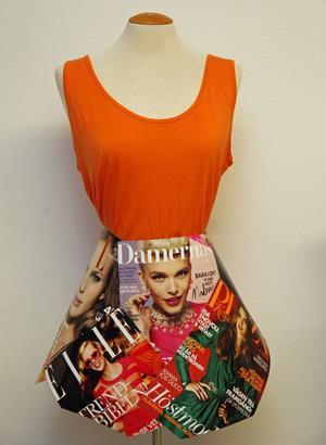 Johanna Röding använde modemagasin när hon gjorde den här kjolen.