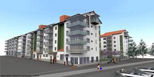Mitthems 192 lägenheter kommer ligga i de strandnära kvarteren.