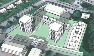 Så här var det tänkt att det skulle se ut. Men nu kan det istället för två höga punkthus bli ett L-format femvångingshus.