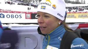 Maria Rydqvist i SVT efter loppet.   Foto: SVT.