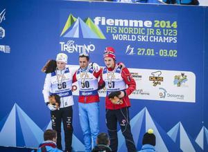 Jens Burman, Roman Kaygorodov, Ryssland, och Petter Reistad, Norge. Så såg söndagens JVM-pall ut.