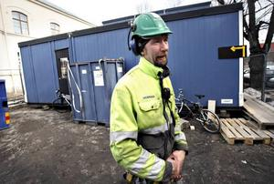 Skyddsombudet Per Westerlund ställer upp på Byggnads strejkvarsel.