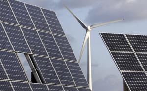 Paneler för solel och ett vindkraftverk.