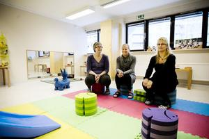 Åsa Lööf, Jenny Ganse och Anna-Karin Wadin har förberett lokalerna för de sju barn som börjar på måndag.