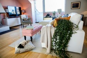 Mattan ramar in soffgruppen. Om det går, välj en matta som är stor nog att sticka ut på sidan om soffan, så ser rummet mer balanserat ut.