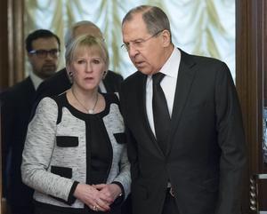 Rysslands utrikesminister Sergey Lavrov och Sveriges utrikesminister Margot Wallström (S) täffade för samtal under tisdagen.