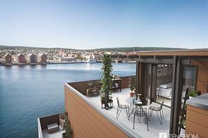 Tre lägenheter på Haga Strand toppar listan över de dyraste objekten till salu. De är i storleken 131-143 kvadratmeter och kostar 6,4-6,6 miljoner kronor.